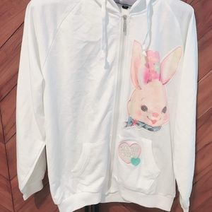 Dolly zip up white hoodie w/ bunny patch & bow
